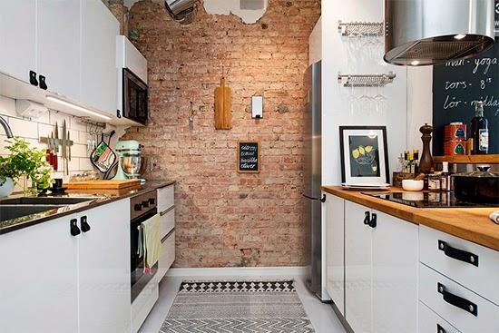 parede de tijolos na cozinha