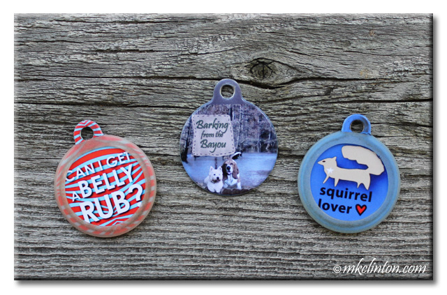 "PetHub dog tags. ""Can I get a belly rub?"" ""Barking from the Bayou"" ""Squirrel Lover"""