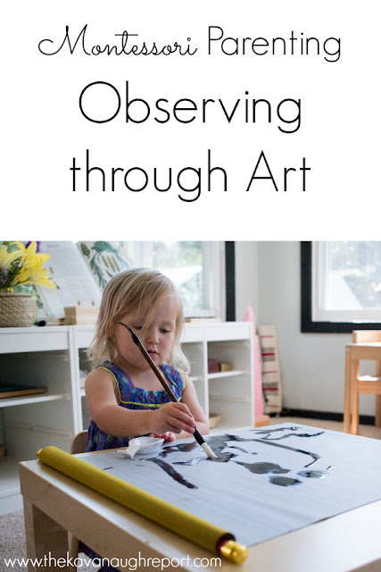 Observing artistic expression with a Buddha Zen Scroll. As a Montessori parent, it's important to take time to observe your child. This mess free painting set makes that easy.