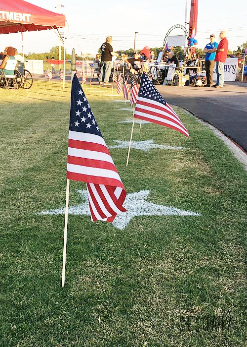 painted stars, flags, veterans