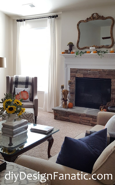 fall, sunflowers, mantel, farmhouse, cottage, farmhouse style, cottage style, family room,