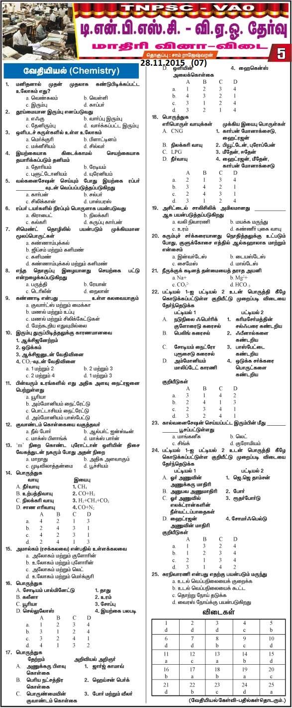 Model Questions and Answers for TNPSC VAO Exam 2015 28.11.2015 Daily Thanthi Series (07) [Download 2015 VAO 07] Courtesy : Daily Thanthi