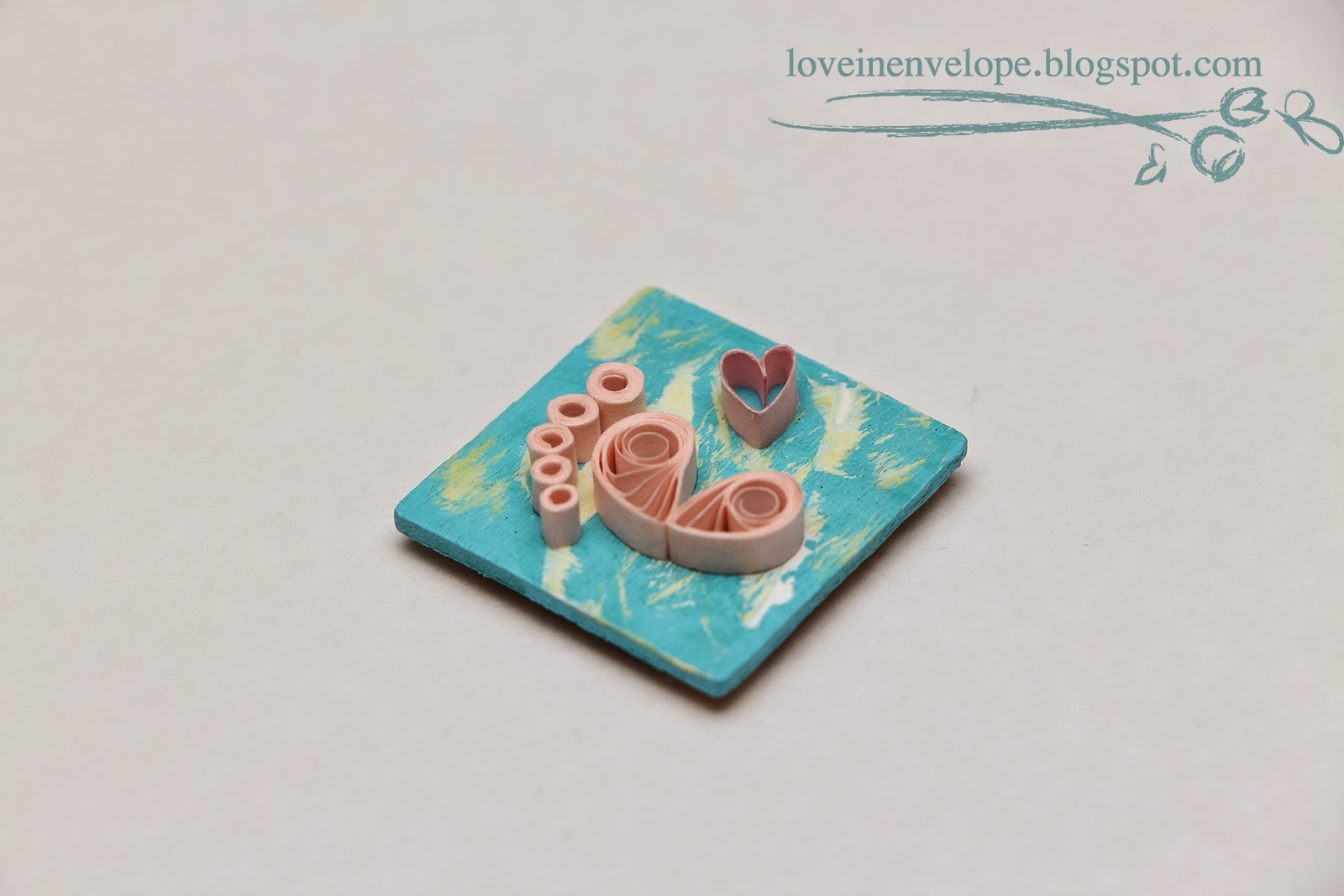 love in envelope quilled baby shower wooden magnet favors baby girl