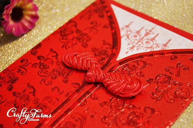 Chinese Knot Button Wedding Invitation Card