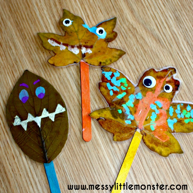 Leaf monster puppet craft for toddlers and preschoolers using autumn/ fall leaves. Inspired by the book 'Leaf Man' by Lois Ehlert.