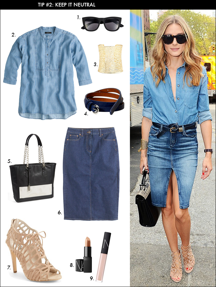 how to wear denim, olivia palermo, tie belt, spring trends