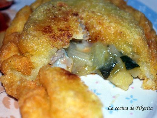 Empanadillas de yuca con calabacín y berberechos