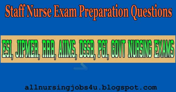 Railway RRB Staff Nurse Exam Preparation Questions
