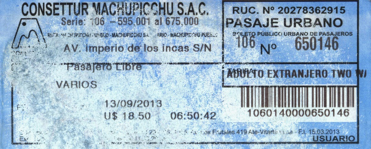Bilhete de passagem de ônibus para Machu Picchu / Peru.