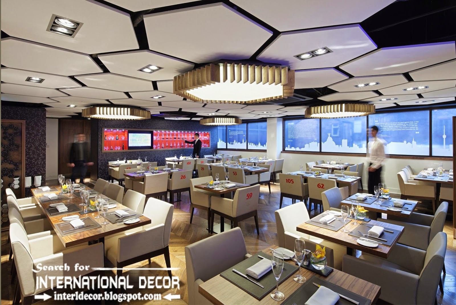 Acoustic ceiling tiles and panels for restaurant and