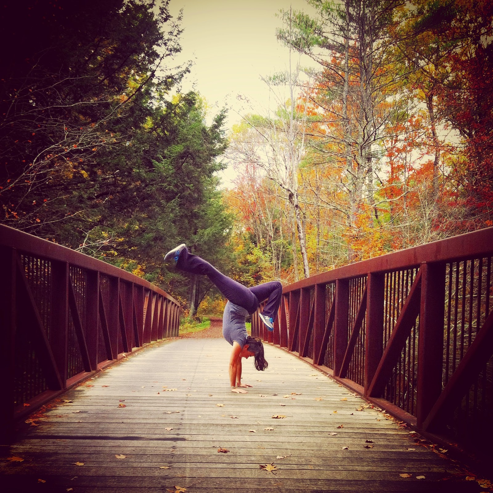 Autumn Handstand on a Bridge