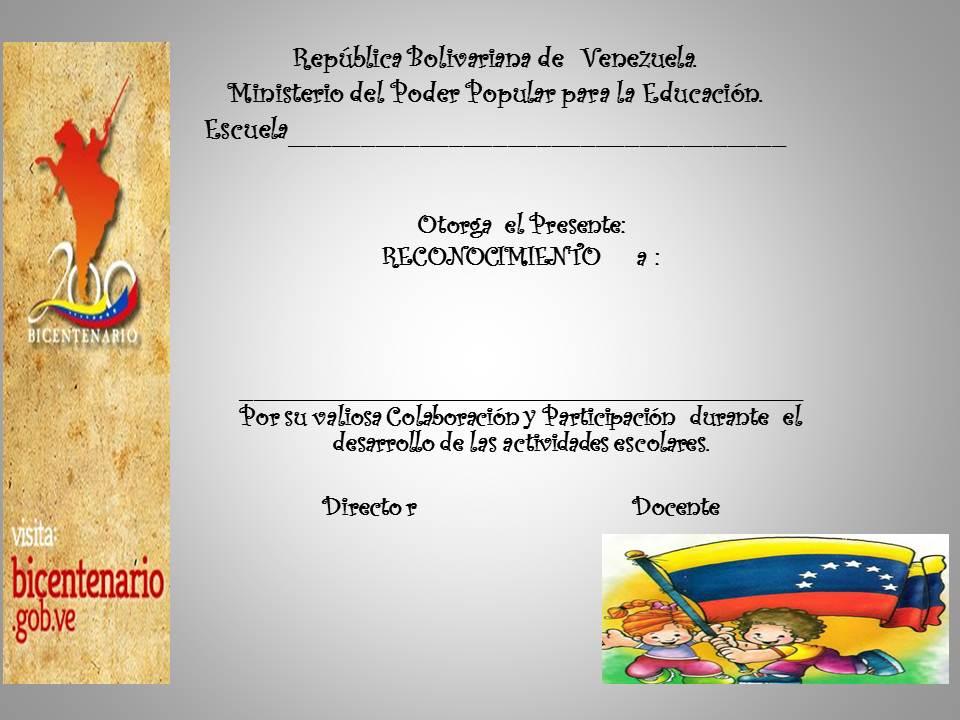 Maestra Asunción Diplomas de ReconocimientoPara los Representantes