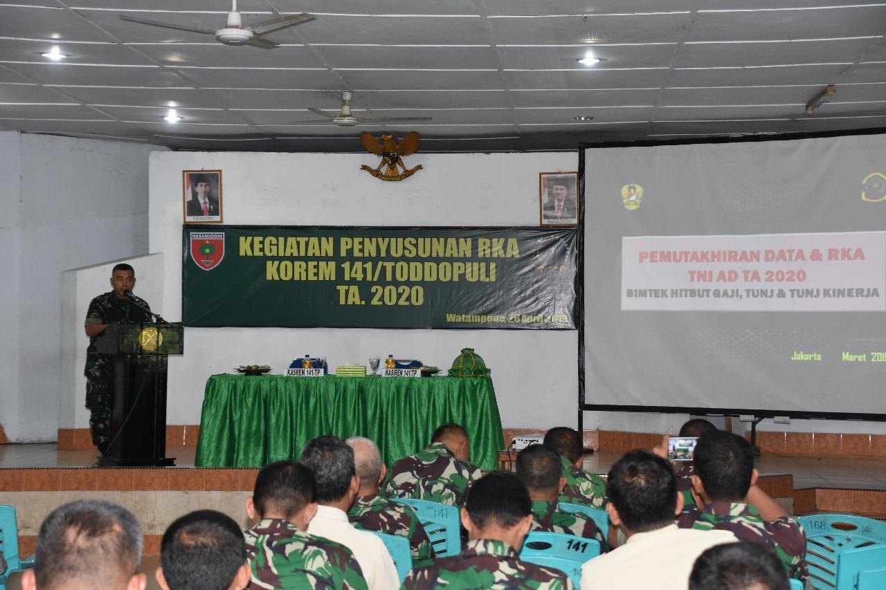 Personel dan PNS Korem 141/Tp Laksanakan Penyusunan RKA