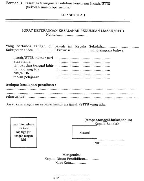 Ini Format Resmi Surat Keterangan Kesalahan Penulisan Ijazah