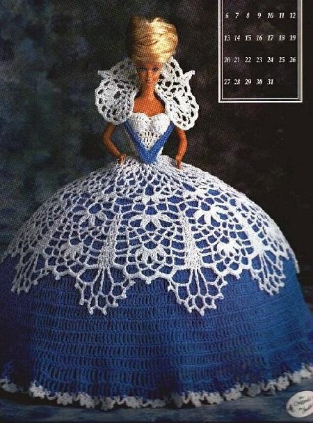 Vestido de Crochê Para a Barbie - Miss Janvier 1991 - Annie Potter