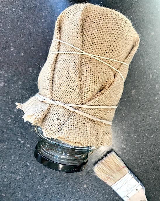 burlap around jar with rubberbands