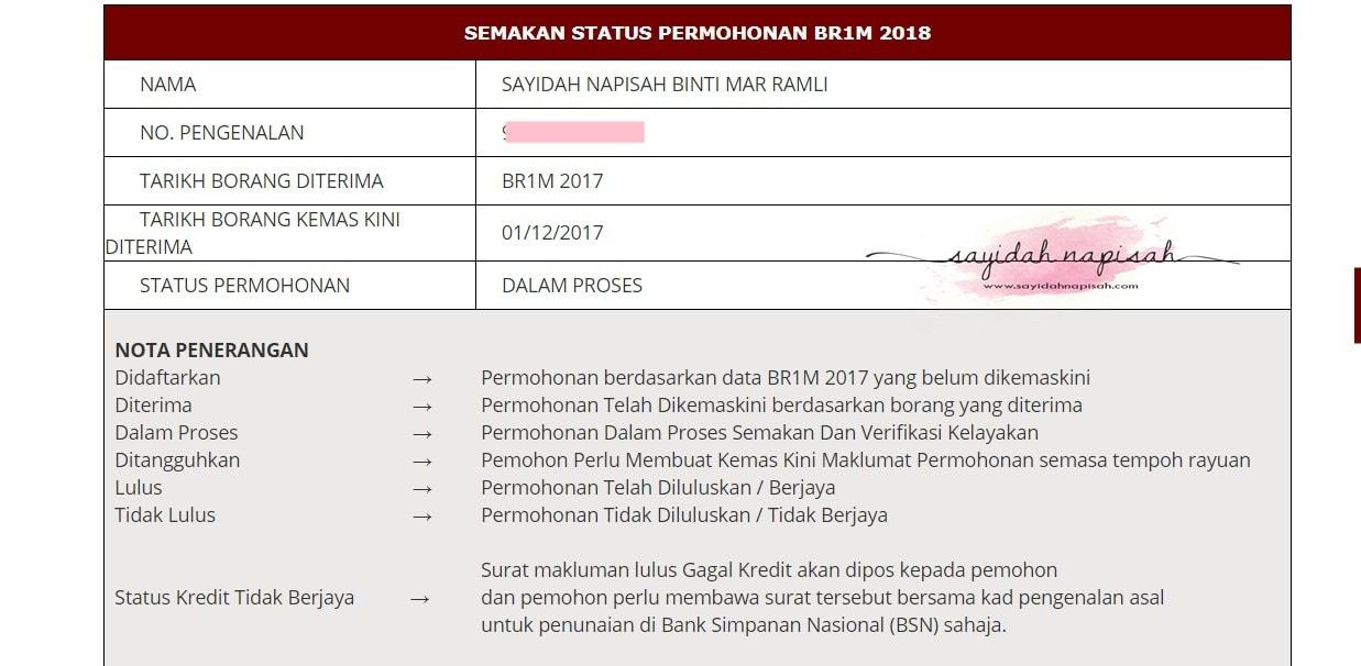 Semakan status permohonan BR1M 2018 DALAM PROSES?