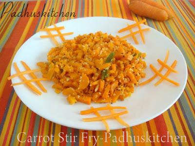 Carrot Poriyal-Carrot Stir fry-Carrot Sabzi