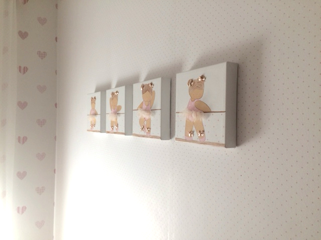 cuadros infantiles de niñas pintados a mano, bailarinas de ballet, decoración infantil personalizada