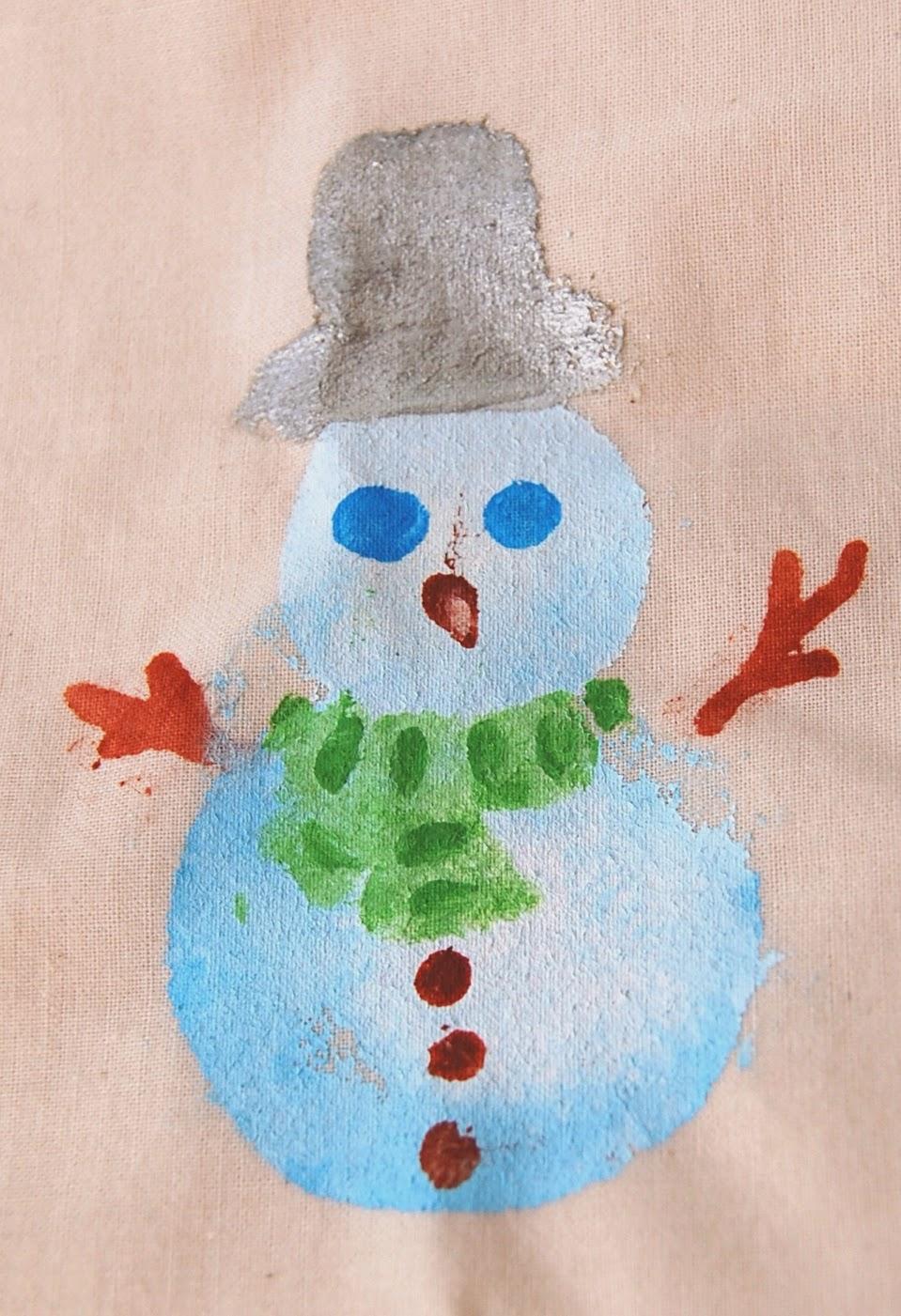 Easy Fabric Painting Idea Christmas Xmas Snowman Snowmen Stocking