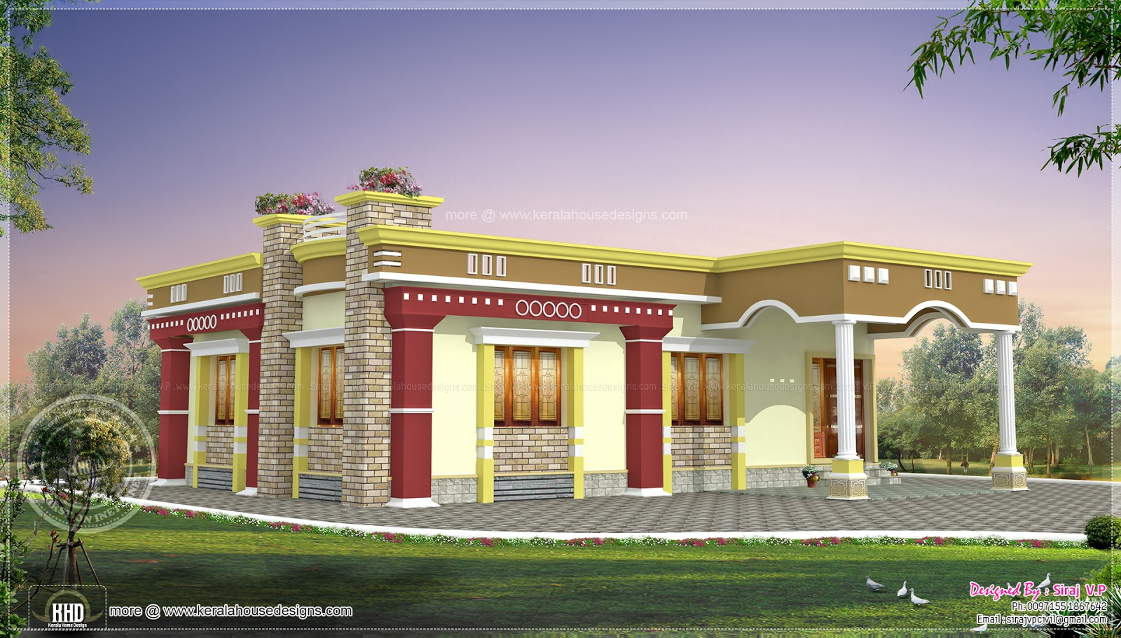 Small south indian home design kerala home design and for Indian homes front design
