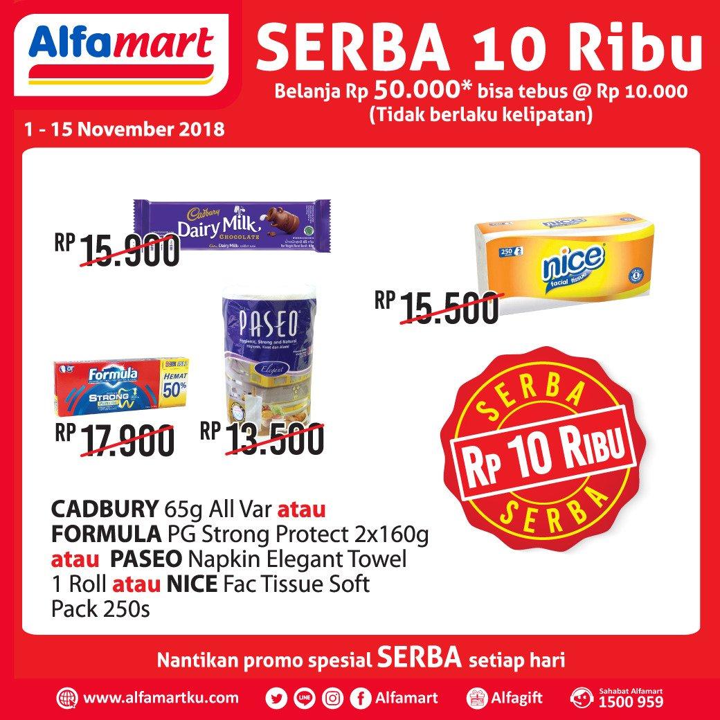 Alfamart - Promo Tebus Serba 10 Ribu Min Belanja 50 Ribu (s.d 15 Nov 2018)