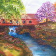 """ Covered Bridge in Fall"" an Original Oil Painting by Contemporary Fine Artist and Photographer Kim Wilson"