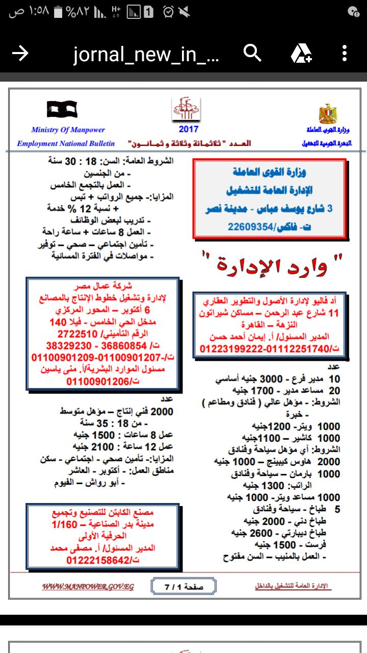 اعلانات وظائف القوى العاملة للشباب لجميع المؤهلات 11393 وظيفة بالمحافظات - اضغط للتقديم