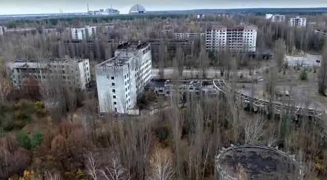 панорама Припяти и ЧАЭС