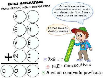 Alfamética, Criptoaritmética, Problemas criptoaritméticos, De regreso a Clases, Desafíos matemáticos, Juego de Letras