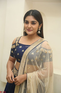 Niveda Thomas in Lovely Blue Cold Shoulder Ghagra Choli Transparent Chunni ~  Exclusive Celebrities Galleries 016