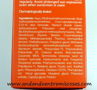 Fluido Solar Anti-Manchas De Bella Aurora, ingredientes