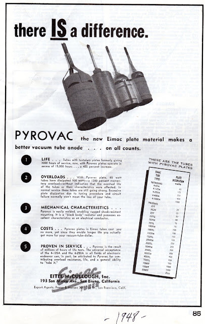 Eimac Tubes With PYROVAC Plates