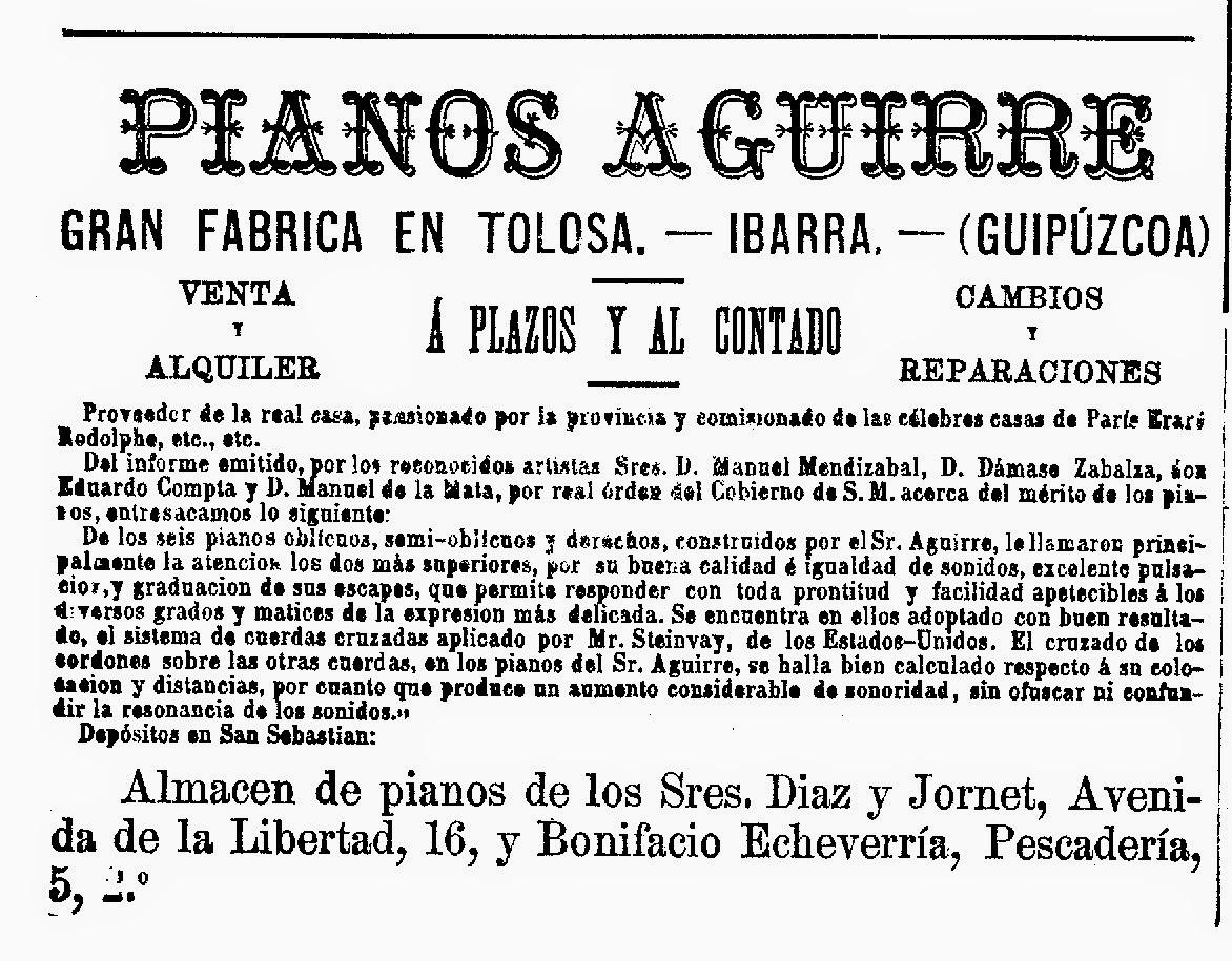 En la calle Euskal Herria de Ibarra todavía se denomina Piano Etxe al  edificio que albergó en sus bajos el taller de este artesano. 13258a73968