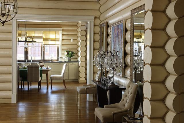 Роскошный интерьер бревенчатого дома под Звенигородом