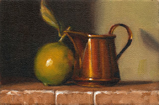Oil painting of a lime with attached leaf beside a small copper jug.