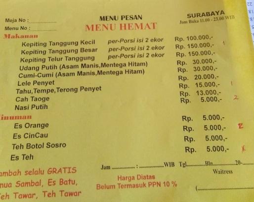 Makan Enak di Kepiting Cak Gundul 1992 Dukuh Kupang Surabaya