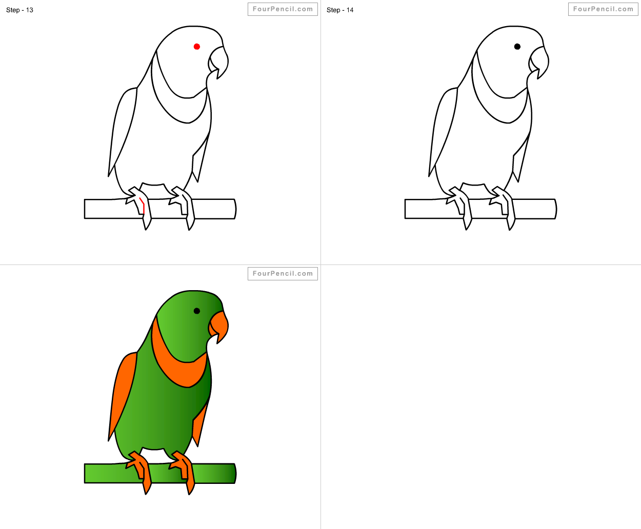 Fpencil: How to draw Parrot for kids step by step