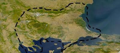 Limitele teritoriului lingvistic tracic, conform lui Ivan Duridanov, 1985.