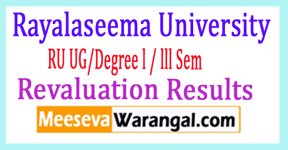 Rayalaseema University Degree 1st/2nd / 3rd Year 2017 Revaluation Results