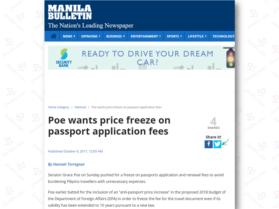 "Senator Grace Poe  pushed for a freeze on possible increase of fees for passports application and renewal to avoid burdening Filipino's especially the Overseas Filipino Workers (OFWs) with unnecessary expenses.  Poe earlier batted foran ""anti-passport price increase"" in the proposed 2018 budget of the Department of Foreign Affairs (DFA) seeking to freeze the fee for the travel document even if its validity has been extended to 10 years pursuant to a new law.   The DFA charges P950 for regular processing or passports delivery to applicants within 15 working days and P1,200 for express processing, where delivery will be after seven working days. Poe said that there is no reason to increase the price for the passport if the pages will remain to current 44 pages with 39 pages  stampable. and besides, not all Filipinos are frequent travellers.  Sponsored Links  She said she will introduce an amendment to the proposed P19.56-billion DFA budget for 2018 when the Senate tackles the agency's budget.  President Duterte signed into law last August 2, 2017 Republic Act 10928 which extends the validity of Philippine passports from 5 to 10 years, not including those of minors which would only have a 5-year validity.  The senator said if the DFA will issue a passport that will have more pages, then the best recourse is to maintain the current price, ""or call for extensive hearings, especially among OFWs, if they plan to charge more.""  About three million Filipinos apply for new or renewal of passports every year.   Source: newsmb.com.ph   Advertisement Read More:       ©2017 THOUGHTSKOTO"