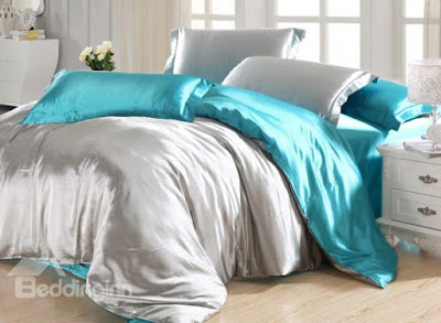 Silky Gray and Aqua 4-Piece Duvet Cover Sets