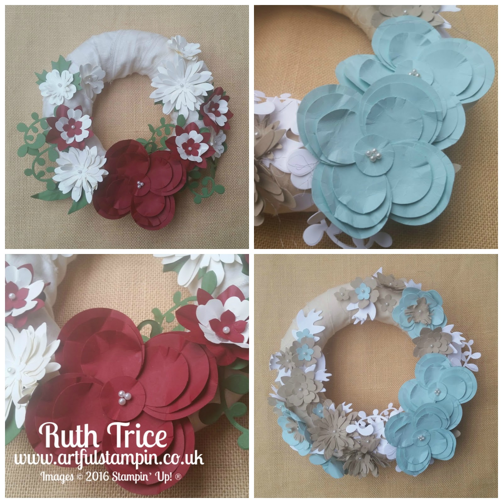 Artful stampin uk independent stampin up demonstrator ruth paper flower christmas wreath with ruth trice mightylinksfo