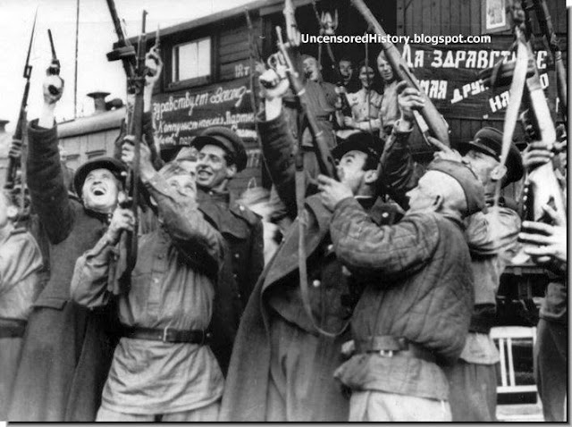 Red Army soldiers celebrate  German surrender East Prussia May 1945.