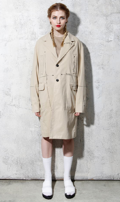 Notched Lapel Loose Fit Coat