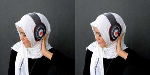 hijab headphone untuk aksesoris hijab