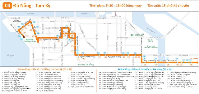 Lộ trình tuyến xe buýt số 4: Đà Nẵng - Tam Kỳ