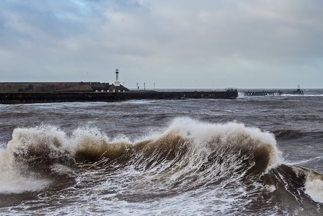Photo of one of the impressive waves whipped up at Maryport by Storm Dylan