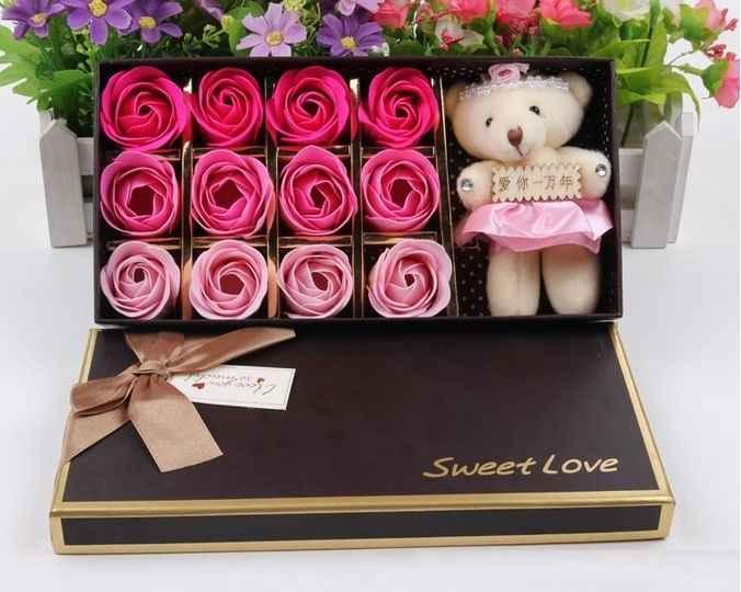 44k - Hoa hồng sắp thơm lâu hộp chữ nhật 12 bông tặng kèm gấu giá sỉ và lẻ rẻ nhất