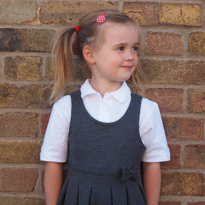 Phoebe all ready for her first day at school
